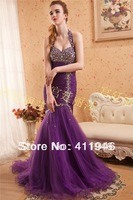 2014 Prom dress! Sell like hot cakes neck hung royal princess organza mermaid  prom dress edge curl /l  frees shipping
