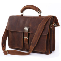 J.M.D Free Shipping New Style Crazy Horse Leather Mens Satchel Brown Leather Messenger Bag Men's Briefcase5PCS/# 7164R