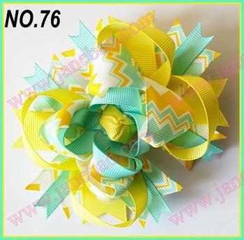 free shipping 30pcs 4.5'' chevron hair bows Girl boutique hair clips Fashion baby hair bows