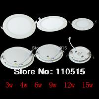New 3w/4w/6w/9w/12w/15w/18w Panel Light Super Thin White/Warm White LED Ceiling Light