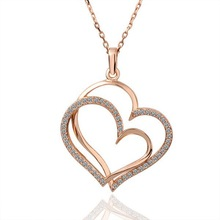 MN996 Fashion 18K Rose Gold Plated Czech Crystal Double Heart Love Pendant Necklace
