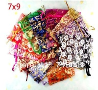 1000pcs 7x9cm (3x4inch) Random Mixed Bronzing Drawable Organza Wedding Gift Bags Jewelry Bag Pouches  Free Shipping