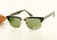 New style Brand name sunglass men's/women's Designer 4190 Squared Clubmaster Black sunglass Green lens 52mm case box