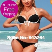 2014 Hot Sale New Arrival!free Shipping Dropshipping Sexy Swimsuit with Pads Inside And Steel Care Women' Bikini Swimwearblack