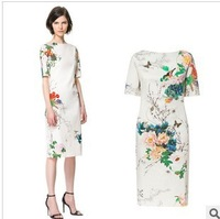 2013 New Style Women's Brand Fashion Peonies Birds Printed Slim Cheongsam Design Dress,Ladies' Classical Evening Dress lq100