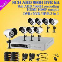 DIY 8 Channel CCTV DVR System 8pcs 700TVL Outdoor Warterproof security camera dvr kit 8ch AHD 960H recorder home surveillance