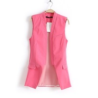 Free Shipping Fashion Vest Europea Style Sleeveless Outerwear Hot Sale Women Waistcoat ONLY ROSE AND WHITE COLOR NOW 060904