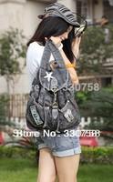 Free Shipping Women's Vintage Casual Denim Bags Fashion Preppy Style Studded Handbag With Rhinestone Jeans Bag Girls Mochilas