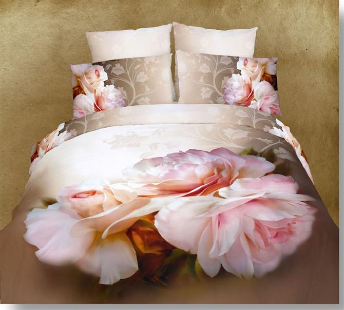 Unique Big Pink Flowers 3D Bedding Set Queen Size 4pcs Oil Printing ...