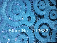 The club party lace fabric of Ring circle embroidery graceful flowers pattern lace the stereo flash sequin african lace fabric