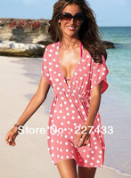 Design Women's V Neck Dot Mini Dress Puff Sleeve Bikini Overall Beachwear Swim Dress