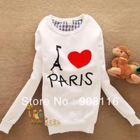 Free shipping,2013 Brand New,Korean/Japan womens cute Paris Autum Hoodies/pullover,ladies hoodie/sweatshirt,cheap price