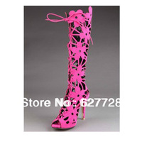 Hot Pink Hollow Women Beautiful Half Boots,Lace Up Popular High Heel Boots
