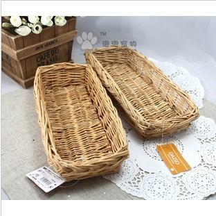 Buy 2 or more free shipping willow storage basket rattan straw basket food basket bread basket weave baskets square storage