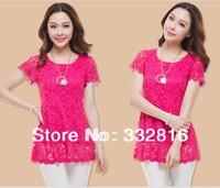 Free shipping Summer female big yards lace chiffon shirt with short sleeves Bud silk chiffon unlined upper garment