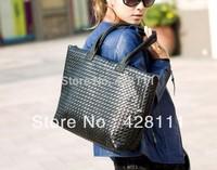 2014 New Fashion Women's PU Leather Handbag Casual Bag Tote Black Handbag Designer Brand Bolsas