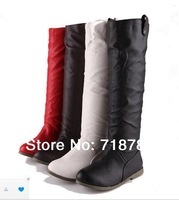 2014 NEW !!! Flat Heel High-leg Rivets White Women Motorcycle Boots PU  Single Female Boots Spring Autumn Winter Shoes Fashion