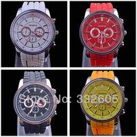 2014 Geneva Silicone Watches Women Casual Watches Analog Ladies Quartz Men Unisex Jelly Watch Dropship Sports wristwatch Clocks