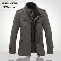 High Quality Fashion Jackets For Men Splice Woolen Military Jacket casual Brand Men's Jacket outerwear Winter Coat Men Overcoat
