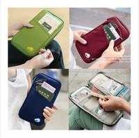 Hot selling 5pcs/lot New Travel Passport Bags Credit ID Card Cash Holder Travel Organizer  Key Hand Zipper Case Bag Pouch Wallet