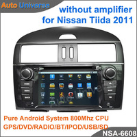 Car gps for Nissan Tiida 2011 without amplifier with Pure Android system wifi 3G DVD GPS RADIO BT IPOD OBD(opt) free shipping