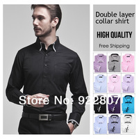 Men's clothing Mens brand long sleeve dress shirt men Double layer collar business shirts for men 55%cotton 6colors size S-XXXL