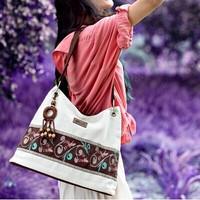 Hotselling new 2015 fashion women's handbag national trend white bag vintage linen shoulder bag messenger bag women handbag
