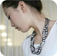 6pcs/lot Fashionable mix style rhinestone full rhinestone chain necklace Free Shipping
