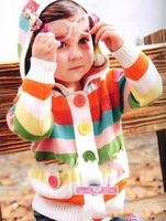 children hooded sweaters  colorful stripes even cap unlined upper garment of children's cardigan 3pcs/lot free shipping