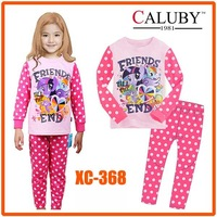 10 August Girls Pony Pajamas Sets Kids Autumn -Summer Clothing Set Wholesale New 2014 Children Casual Sleepwear XC-368 -XC-369