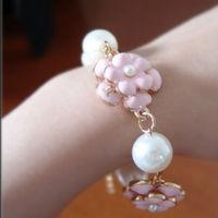 2013 Latest Fashion bracelet Pearl Camellia Pearl bracelet With Little Daisy Multilayer Bracelets For Women Free Shipping BL0119