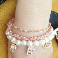 2013 New Arrival Free Shipping Vintage Big Pearl Bracelet Fashion Alloy Bracelet Wholesale And Retail BL0129
