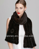 YR-184-D Genuine Mink Tail Hand Knitted Fur Scarf/ Muffler