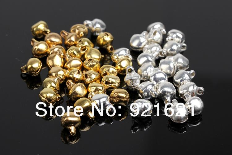 Бесплатная доставка 6 мм 8 мм 12 мм золото / серебряный колокольчик колокольчики Fit фестиваль ювелирные изделия подвески шарм бусины D0115