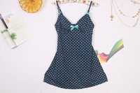 Free shipping 2013 foreign trade fashion sexy deep v harness sleep dress for women,lovely round dot sleep harness  shirt