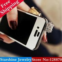 Min Order $5 Mix PL08903 full rhinestone heart phone4 cat mobile phone dust plug