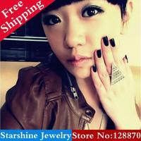 Min Order $5 Mix PL24904 fashion vintage punk magic triangle ring finger ring
