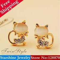 Min Order $5 Mix PL40205 nude eye 18k - gold kitten elegant earrings