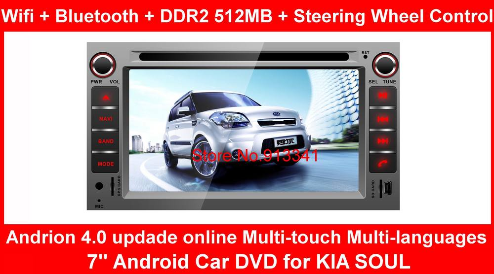 7'' Android Car DVD for KIA SOUL Built-in GPS / Wifi / iPod music / Bluetooth / Steering Wheel Control Andrion 4.0 updade online(China (Mainland))