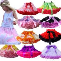 Retail 3M-15T Girls Pettiskirt Children Baby Yellow With Pink Soft Chiffon Princess TuTu Skirt Kid Clothes Free Shipping 1 PCS