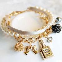 2013 New Arrival Free Shipping Vintage Perfume Pearl Ribbon Bracelet Fashion Alloy Bracelet Wholesale And Retail BL0132