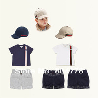 In-Stock Wholesale Brand Boy 2pcs Clothing Sets Summer ShortSleeve T-Shirt+Short+Sun Hat Cotton Summer Kids Suits 6sets/lot