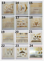 DHL&EMS Freeshipping 240pc/Lot 2014 New Design gold silver metalic temporary tattoo sticker for glitter stencil kit supply TSG01