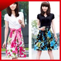 Cute Women's Summer Mini Slim Pleated Dress Short Sleeve V-neck Floral Patchwork Sundress Cotten Blends Free Bow Belt QZ204