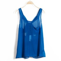 ON SALE!! American Brand sexy chiffon backless blue vest tank
