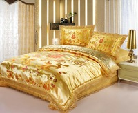 Reactive printing silk bedding set king size gold dragon chinese wedding bedding set queen/bed cover set/bedding