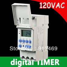 Бесплатная доставка дин-рейке 7 дн. программируемый цифровой 120 В таймер рыле-переключатель управления 110 В 16а