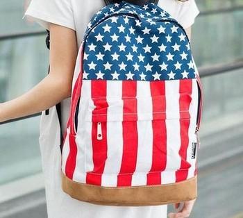 2015 Casual  shipping , hot sale UK/USA flag canvas packbag /flag bag/student bag/school bag