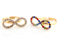 50pcs Colors mix gold plated rhinestone open adjustable infinity symbol one direction finger rings jewelry for women girls