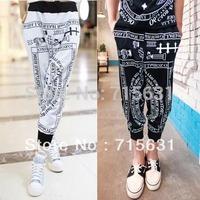 2014 Fashion Men Autumn And Winter Letter Print Slim Cotton Trousers Ktz Les Men Harlan Pants White & Black